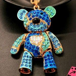 Betsey Johnson Bear Pendant/Necklace NWT